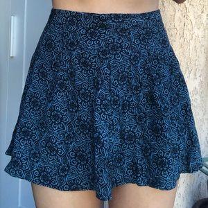 Blue & black print skirt